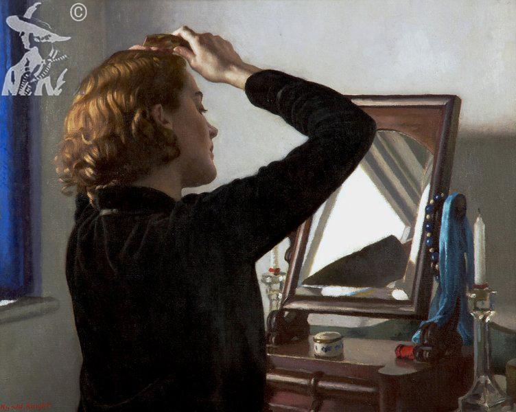 Girl Combing Her Hair