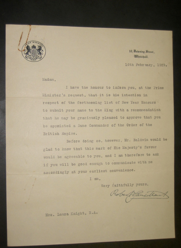 1929 16 Feb -Baldwins 1 recommendation Laura receive a DBE
