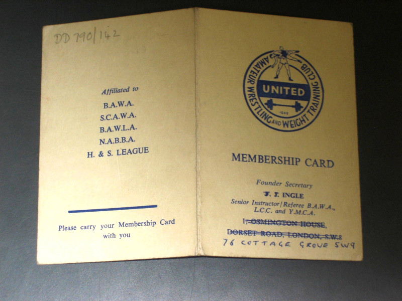 Amateur Wrestling and Weight Training Club Membership card